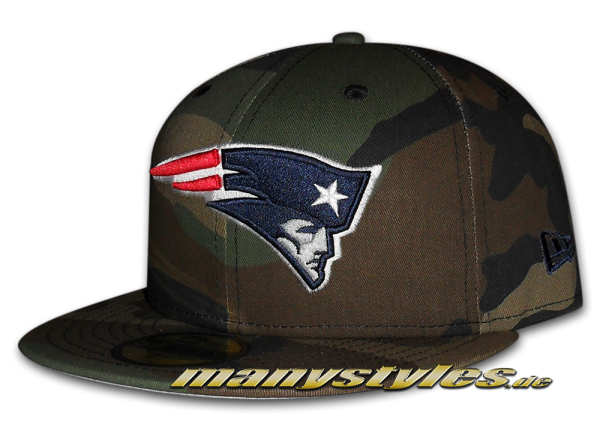 New England Patriots 59FIFTY NFL Basic Camo Team Exclusive Cap Woodland Camouflage