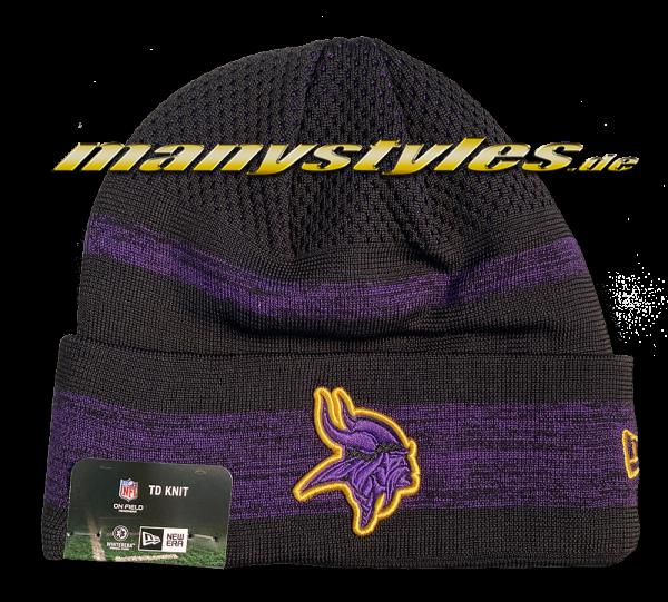 Minnessota Vikings NFL Sideline Tech Knit Beenie Black Purple Yellow von New Era