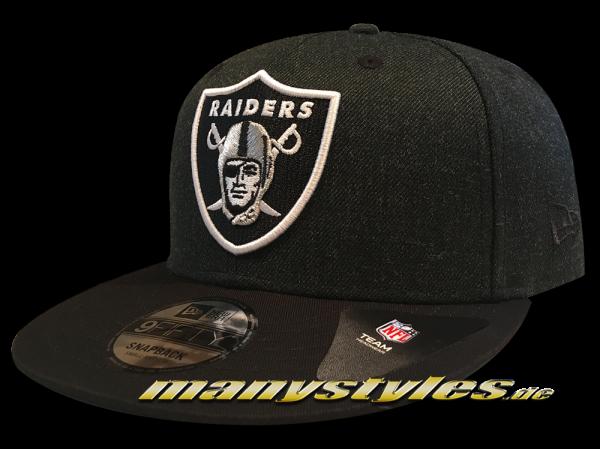 Oakland Raiders 9FIFTY NFL Heather Crown Snapback Cap Dark Graphite Official Team Color OTC von New Era