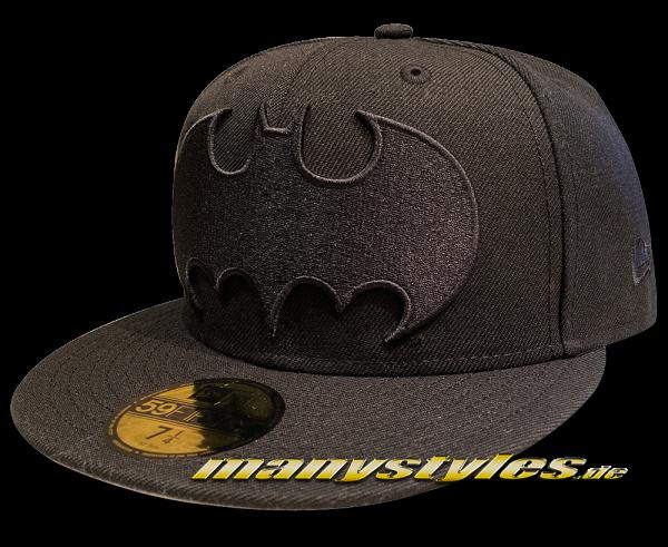 Batman The Dark Knight Bat Logo 59FIFTY Ftted manystyles exclusive DC Comic Cap Black on Black von New Era Front