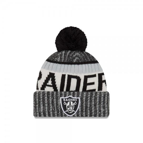 Oakland Raiders  NFL Sideline 2017 Bobble Beenie Grey Black Silver OTC von New Era Frontside