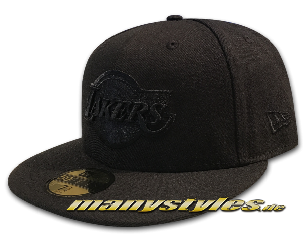 LA Lakers NBA 59FIFTY Fitted Cap Black on Black von New Era