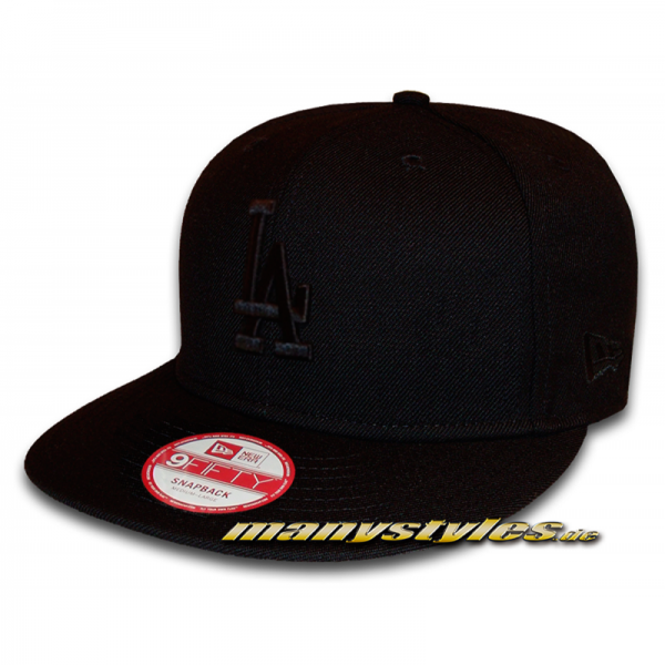 LA Dodgers 9FIFTY MLB League Essential Snapback Cap Black on Black