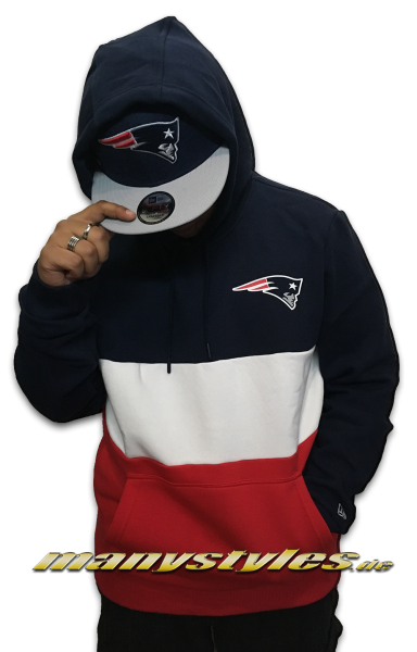New England Patriots NFL Color Block Hooded navy red White OTC von New Era