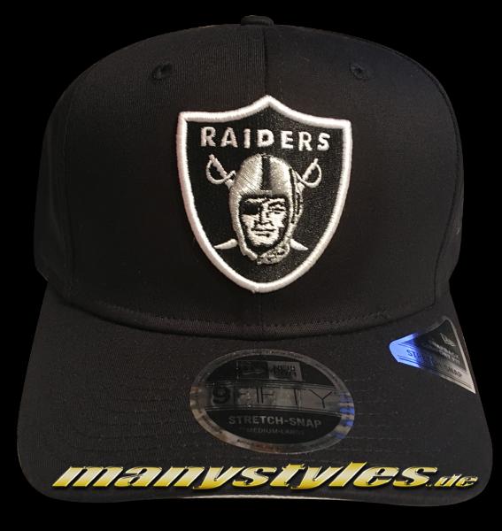 Oakland Raiders (Las Vegas Raiders) NFL 9FIFTY Team Stretch 950 SS Stretch Snapback Cap Black White OTC von New Era