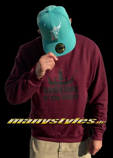 manystyles Survival of the Fittest Crown exclusive Crewneck Sweatshirt in Maroon Dark Black von Sol
