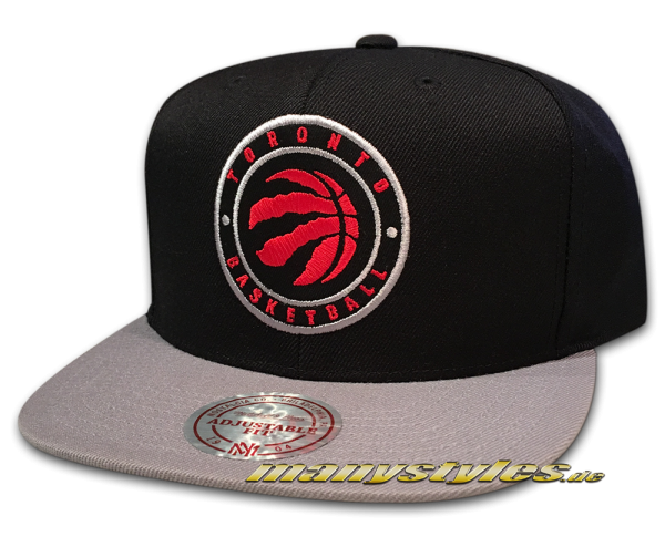 Toronto Raptors NBA Snapback Cap 2 Tone Circle Patch Official Team Color von Mitchell and Ness