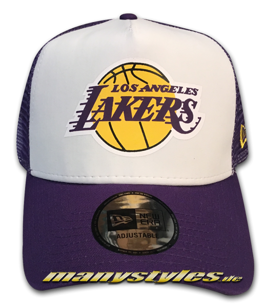 LA Lakers NBA Team Color Block Curved Visor Adjustable Mesh Trucker Snapback Cap White Purple OTC von New Era