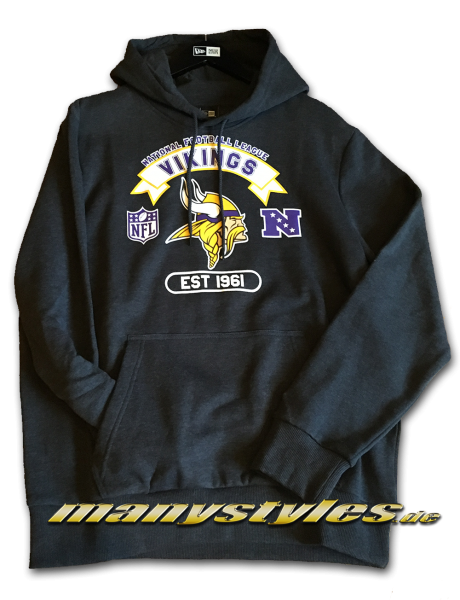 Minnessota Vikings NFL Graphic PO Hoody Charcoal Hooded Heather Graphite Team Color von New Era