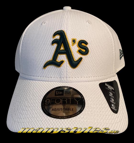 Oakland Athletics 9FORTY MLB Diamond Era Essential Cap White OTC Green Yellow von New Era