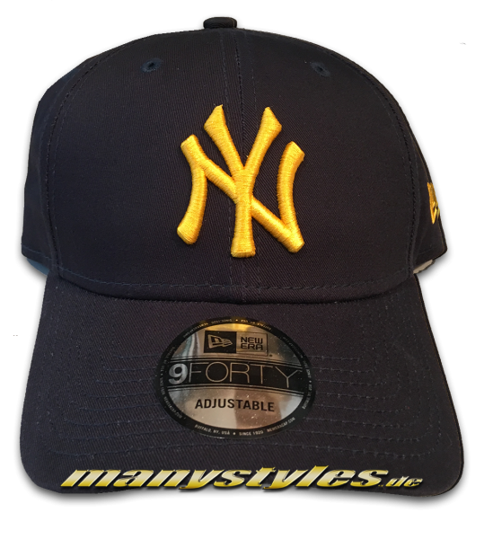 NY Yankees MLB 9FORTY League Essential Curved Visor Cap Navy Yellow von New Era