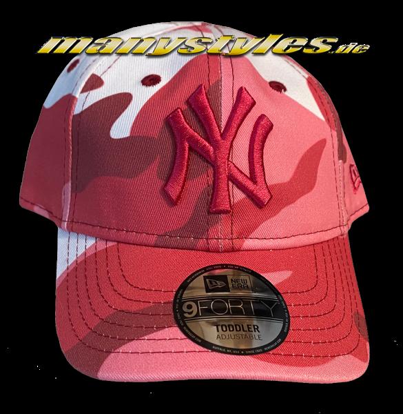NY Yankees MLB 9FORTY Adjustable Cap Kids Camo Curved Visor Kids Toddler Pink Camouflage von New Era