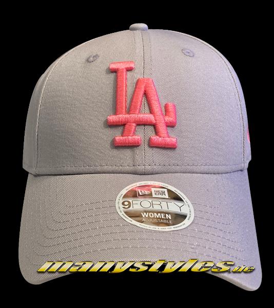 LA Dodgers MLB 9FORTY Womens League Essential Cap Grey Pink Adjustable Curved Visor Cap von New Era