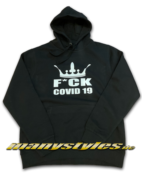 manystyles Fuck Covid19 Crown exclusive Hooded Sweatshirt mit Kapuze in Black White