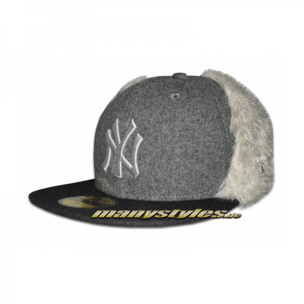NY Yankees 59FIFTY Cap Melton Dog Ear Graphite Black