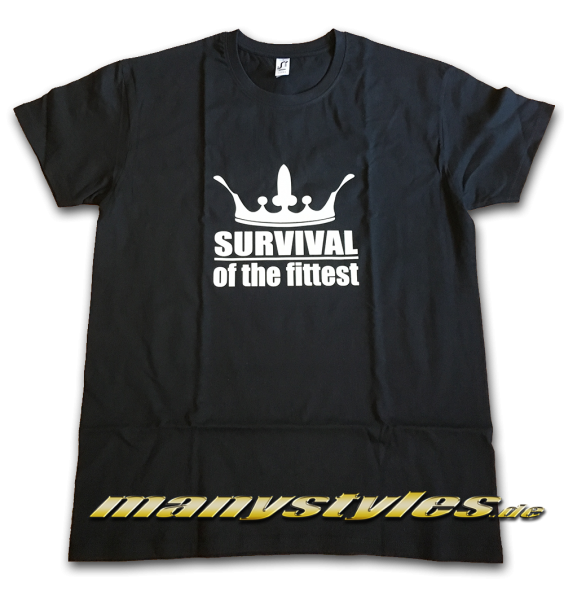 manystyles Survival of the Fittest Crown design exclusive T-Shirt Black White Front