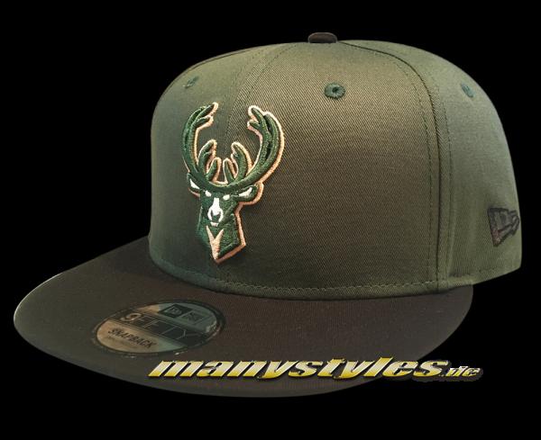 Milwaukee Bucks NBA Team 9FIFTY Snapback Cap OTC Green Black von New Era