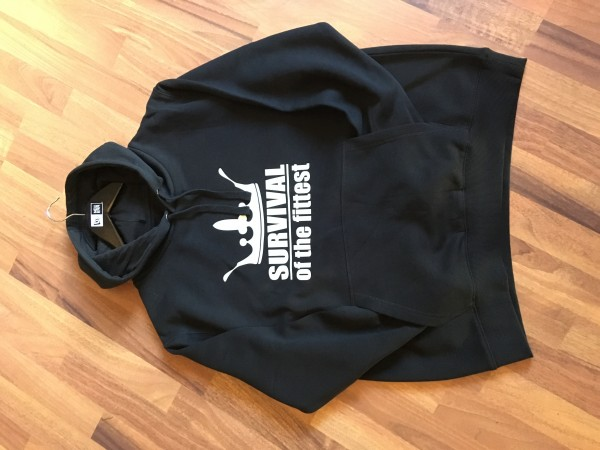 Survival of the Fittest Crown exclusive Hooded Sweatshirt in Black White