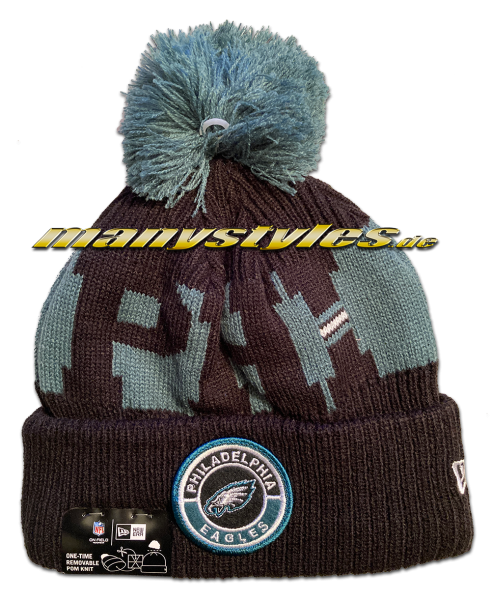 Philadelphia Eagles NFL Sideline 2020 Knit Bobble Beenie von New Era backview