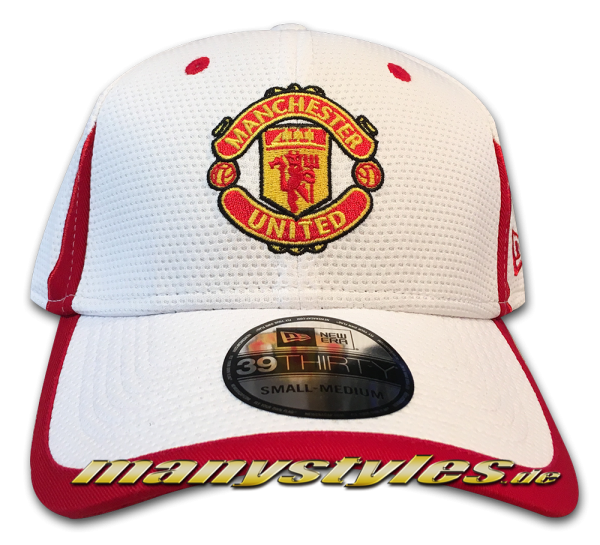 Manchester United 39THIRTY Curved Visor Cap White Scarlet Red Stretch Flex Fit von New Era