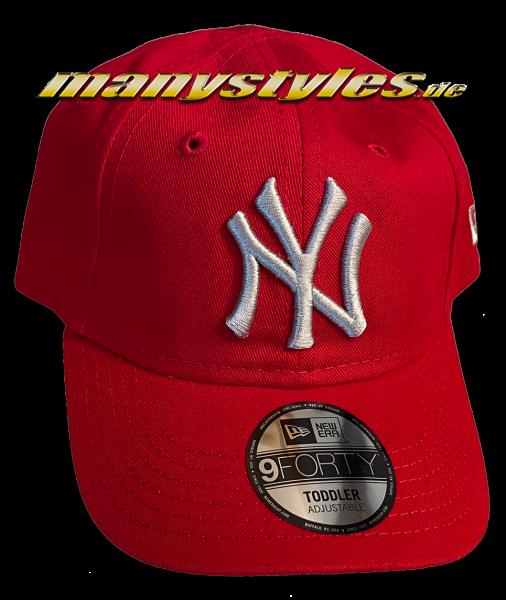 NY Yankees MLB 9FORTY Curved Visor Kids Cap Scarlet Red Grey von New Era