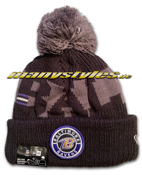Baltimore Ravens NFL Sideline 2020 Knit Bobble Beenie von New Era
