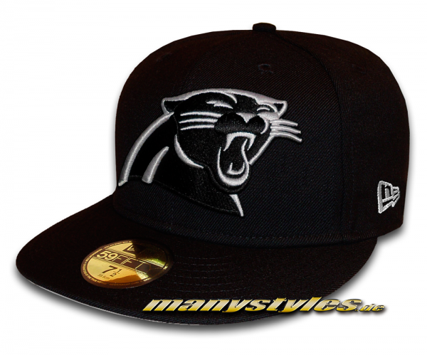 Carolina Panthers official 59FIFTY NFL Basic exclusive Cap Black White