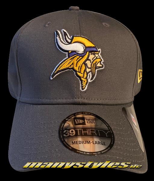 Minnessota Vikings 39THIRTY Curved Visor NFL Team Cap Graphite Grey OTC von New Era Front