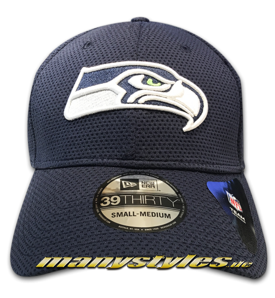 Seattle Seahawks NFL 39THIRTY Cuved Visor Cap Sideline Tech Navy White OTC von New Era