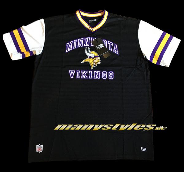 Minnessota Vikings NFL Stripe Sleeve Oversized Jersey Mesh Tee von New Era