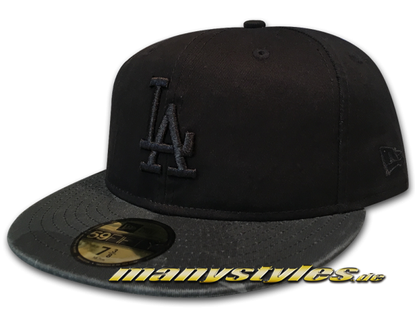 New Era LA Dodgers MLB 59FIFTY Cap Washed Camo Fit Black Graphite White OTC Original Team Color