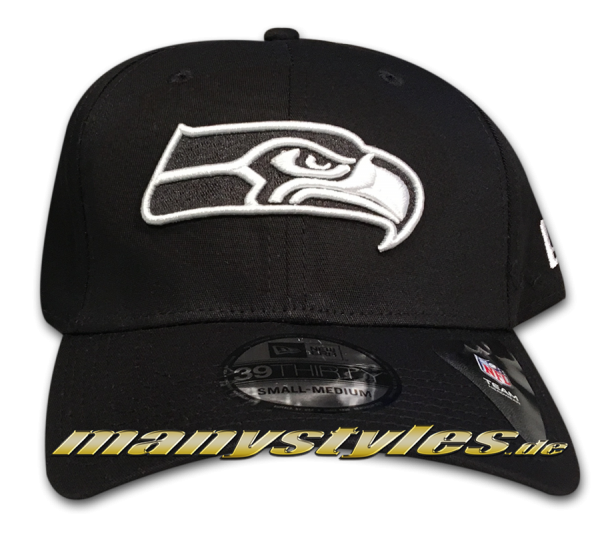 Seattle Seahawks NFL 39THIRTY Cuved Visor Cap Black White Monochrome von New Era
